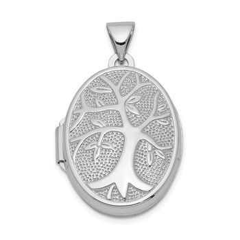 Sterling Silver Rhodium-plated Oval Tree Locket