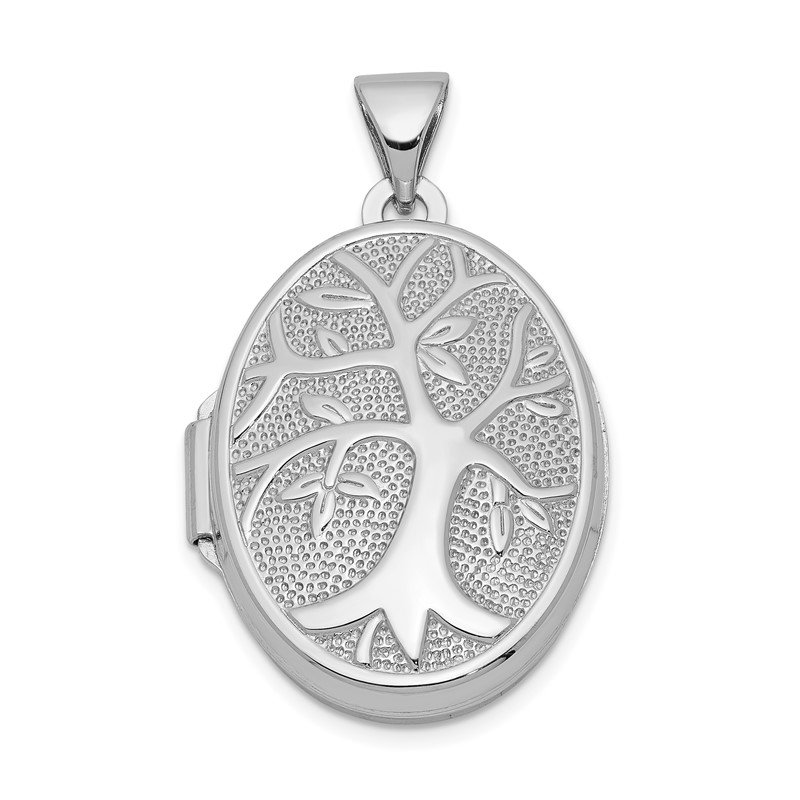 Quality Gold Sterling Silver Rhodium-plated 21x16mm Oval Tree Locket