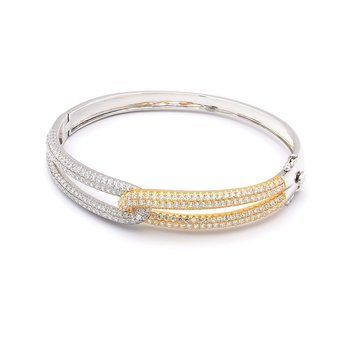 Diamond Two Tone Knot Bangle