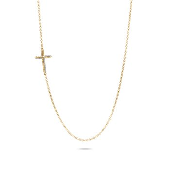 Classic Chain Cross Necklace in 18K Gold with Diamonds