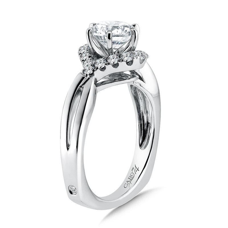 Caro74 Modernistic Collection Diamond Engagement Ring With Side Stones in 14K White Gold with Platinum Head (1-1/4ct. tw.)