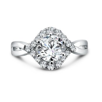 Modernistic Collection Diamond Engagement Ring With Side Stones in 14K White Gold with Platinum Head (1-1/4ct. tw.)
