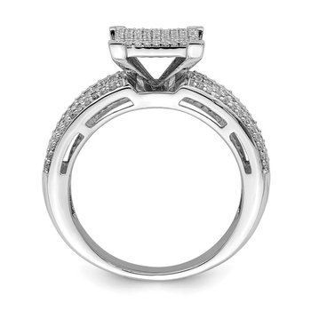 Sterling Silver Rhodium Plated Diamond Square Ring
