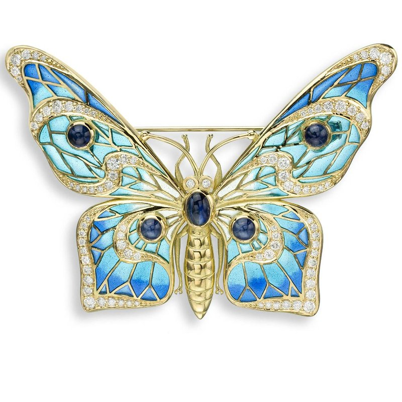 Nicole Barr Designs Blue Butterfly Brooch.18K -Diamonds and Blue Sapphires - Plique-a-Jour