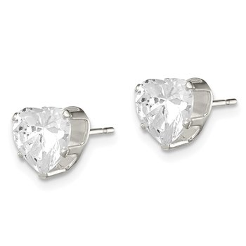 Sterling Silver 7mm Heart Snap Set CZ Stud Earrings
