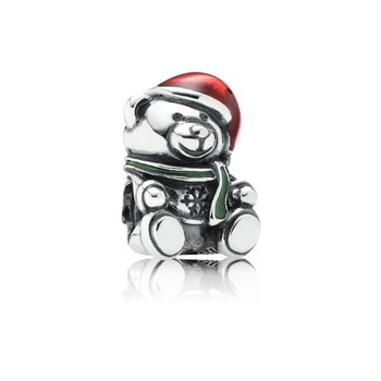 Christmas Bear, Red Green Enamel