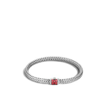 Classic Chain 5MM Bracelet in Silver with Gemstone. Available at our Halifax store.
