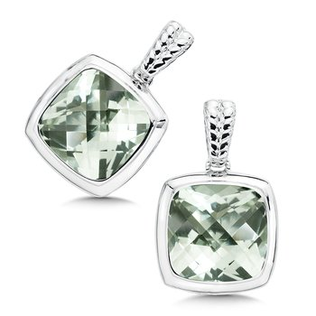 Sterling Silver Green Amethyst Essentials Post Earrings