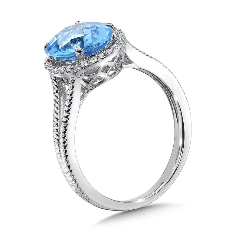 Colore Oro Blue Topaz and Diamond Ring in 14K White Gold