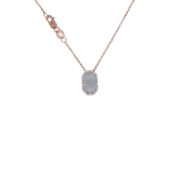 18Kt Rose Gold Diamond And Mother Of Pearl Pendant