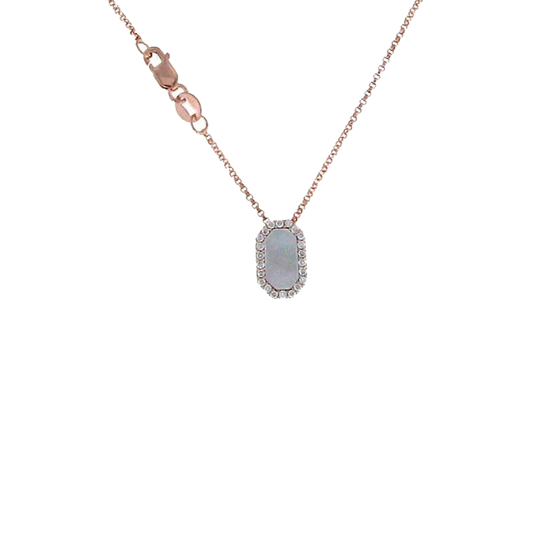 Roberto Coin 18KT ROSE GOLD DIAMOND AND MOTHER OF PEARL PENDANT