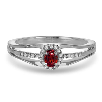 10K WG and diamond and Garnet halo style birthstone ring