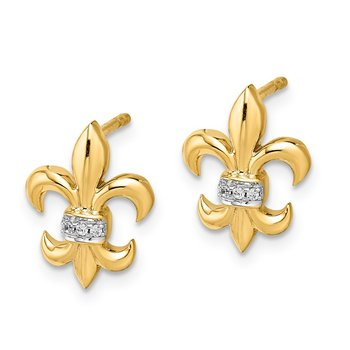 14k White Gold Diamond Fleur de Lis Post Earrings