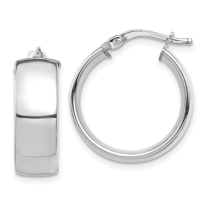 Quality Gold 14k White Gold High Polished 7mm Hoop Earrings