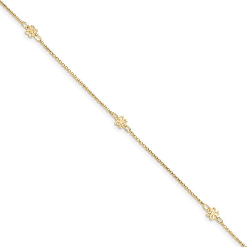 Quality Gold 14K Polished Flowers 10in Plus 1in ext. Anklet