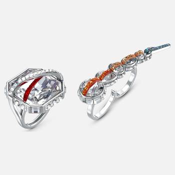 Spectrum Shine Ring Set, Red, Rhodium plated