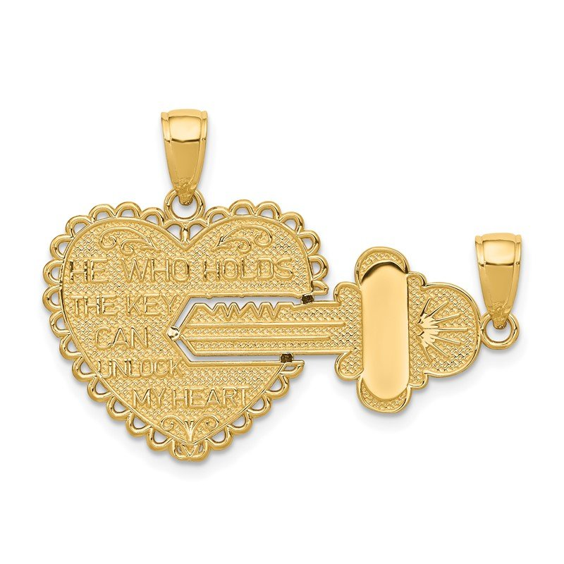 Quality Gold 14K Polished 2 Piece Break Apart HE WHO HOLDS THE KEY Charms