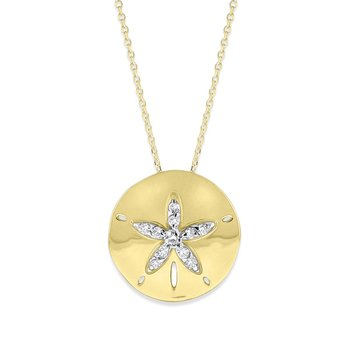 Diamond Sand Dollar Necklace in 14K Yellow Gold with 11 Diamonds Weighing .06ct tw.
