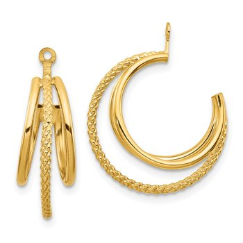 14k Polished & Twisted Triple Hoop Earring Jackets