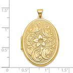 Quality Gold 14k 32mm Oval Flower With Scrolls Locket