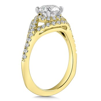 Diamond Engagement Ring Mounting in 14K Yellow Gold with Platinum Head (.54 ct. tw.)