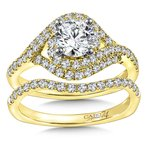 Caro74 Diamond Engagement Ring Mounting in 14K Yellow Gold with Platinum Head (.54 ct. tw.)
