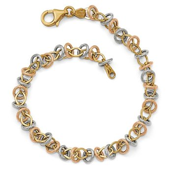 Leslie's 14k Tri-color Polished & Textured Fancy Link Necklace