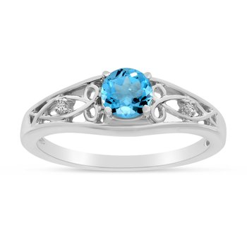 14k White Gold Round Blue Topaz And Diamond Ring