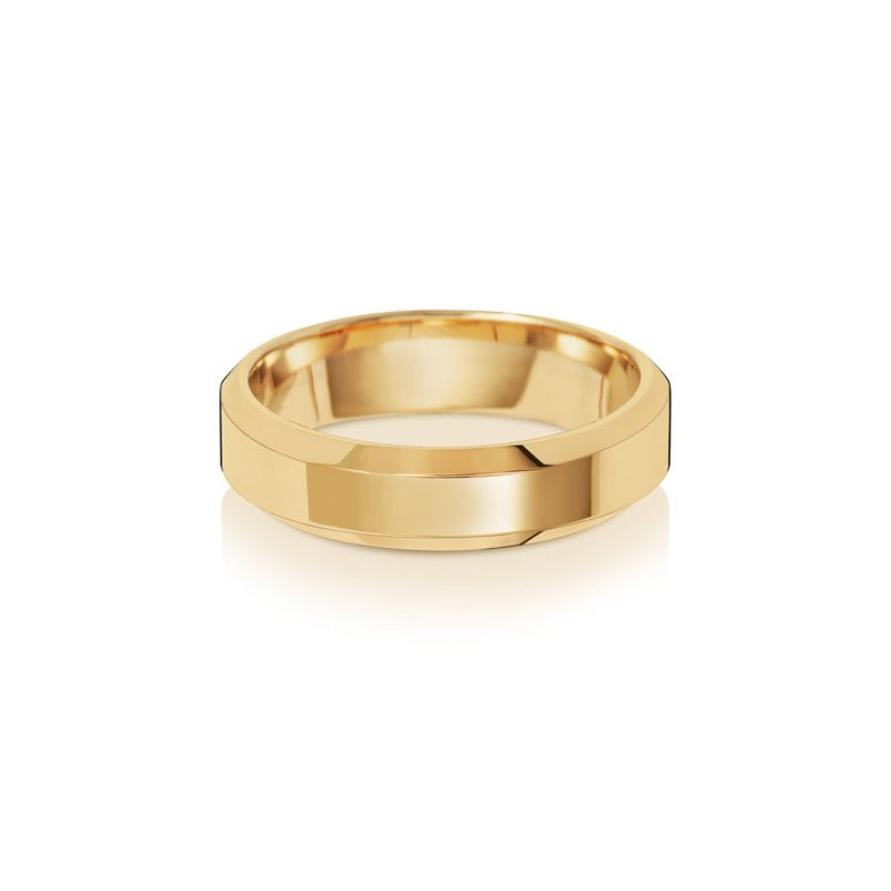 Treasure 18Ct Yellow Gold 5mm Soft Court Bevelled Wedding Ring
