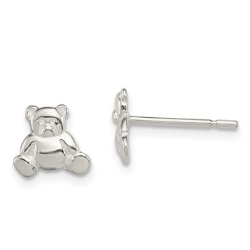 Sterling Silver Teddy Bear Post Earrings