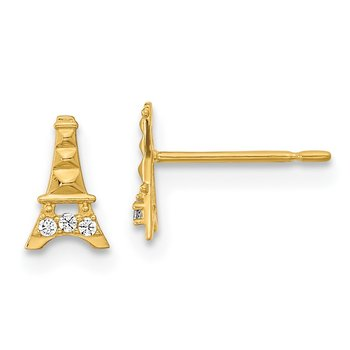 14k Madi K Kids CZ Eiffel Tower Post Earrings