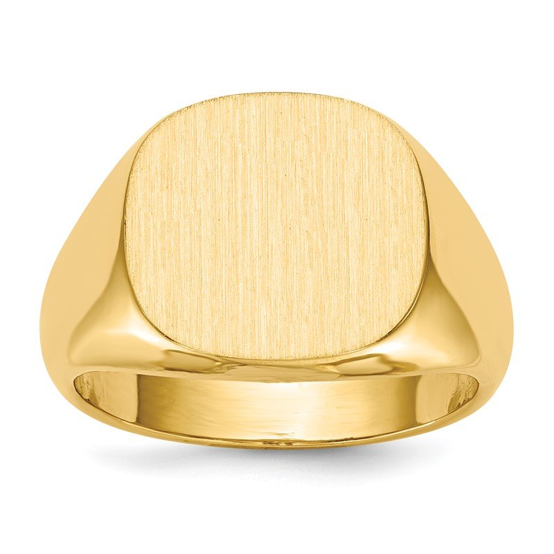 Quality Gold 14k 14.0 x15.0mm Open Back Mens Signet Ring