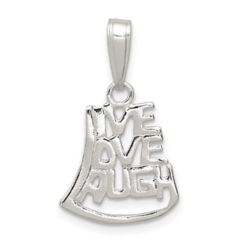 Sterling Silver Live, Love, Laugh Pendant