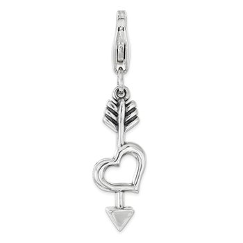 Sterling Silver RH Heart and Arrow with Lobster Clasp Charm