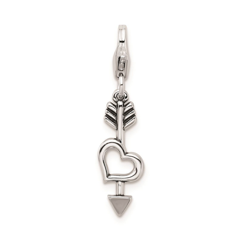 Quality Gold Sterling Silver RH Heart and Arrow with Lobster Clasp Charm