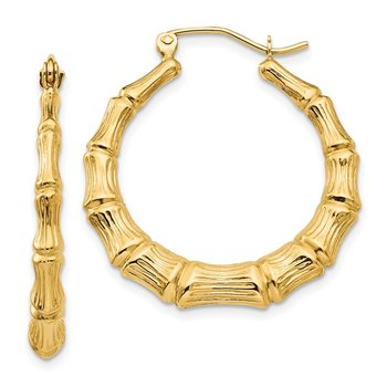14k Polished Bamboo Hoop Earrings