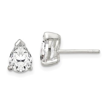 Sterling Silver 5x7mm Pear Basket Set CZ Stud Earrings