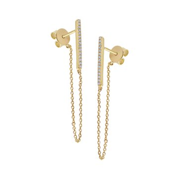 14K Gold and Diamond Chain Earrings
