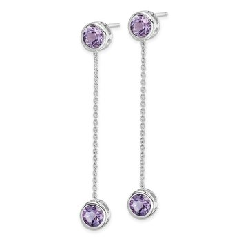 Sterling Silver Rhodium-plated Amethyst & Chain Post Dangle Earrings
