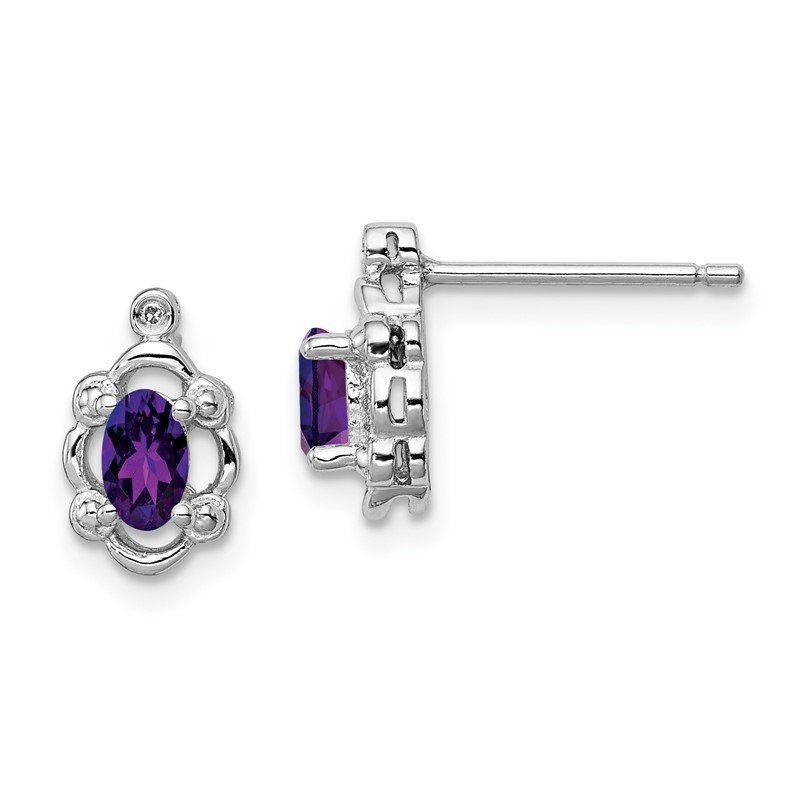 Quality Gold Sterling Silver Rhodium-plated Amethyst & Diam. Earrings