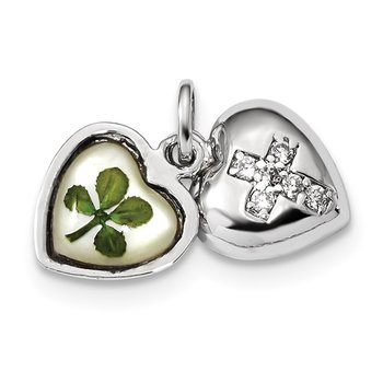Sterling Silver Platinum Plate Leaf Clover Epoxy & Shell CZ Heart Charm