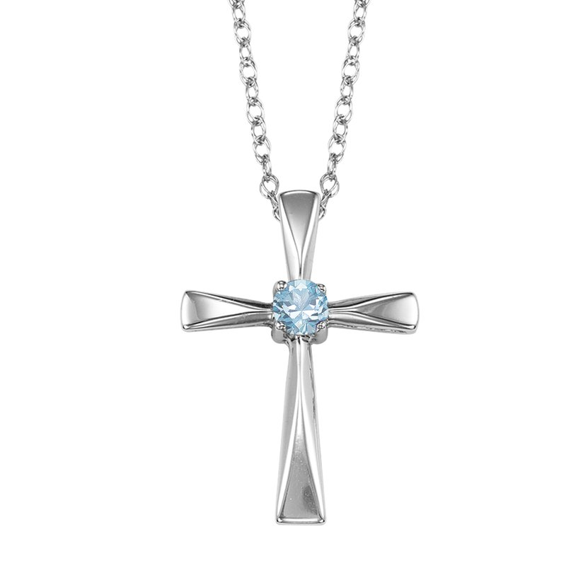 Mixables Silver White Topaz Cross Pendant
