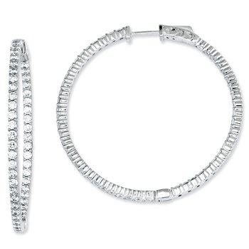 Sterling Silver CZ 100 Stones In and Out Round Hoop Earrings