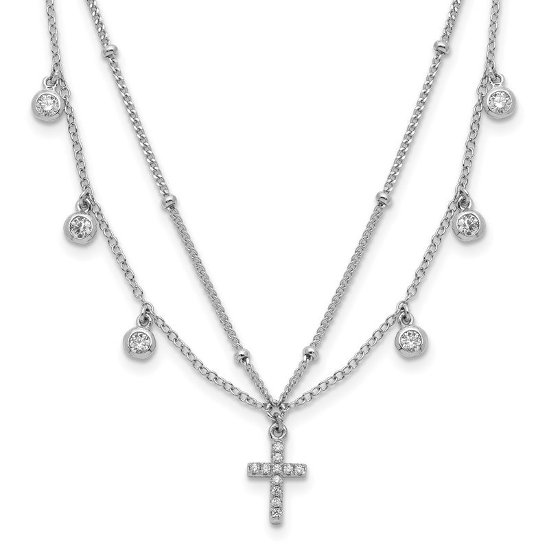 Quality Gold Sterling Silver Rhodium-plated CZ Cross w/2in ext Choker Necklace