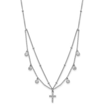 Sterling Silver Rhodium-plated CZ Cross w/2in ext Choker Necklace