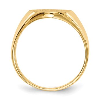 14k 14.0x13.0mm Closed Back Men's Signet Ring