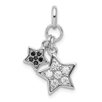 Sterling Silver Rhodium-plated Black & Clear CZ Star Pendant