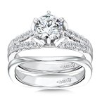 Caro74 Modernistic Collection Six-Prong Split Shank Diamond Engagement Ring in 14K White Gold with Platinum Head (1ct. tw.)