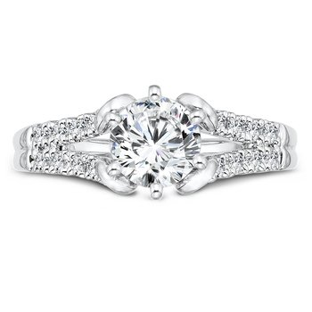 Modernistic Collection Six-Prong Split Shank Diamond Engagement Ring in 14K White Gold with Platinum Head (1ct. tw.)