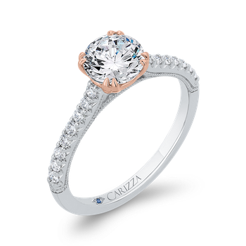 18K Two-Tone Gold Diamond Engagement Ring (Semi-Mount)